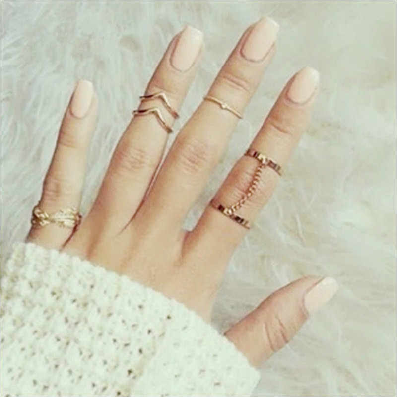 Ring Set Punk Stil Gold Farbe Knuckle Ringe Frauen Midi Finger Knuckle Ringe Ring