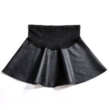 2019 Autumn Winter Maternity Skirts Sexy High Waist PU Leather Skirt For Pregnant Women Mini A Line Dresses  C0102