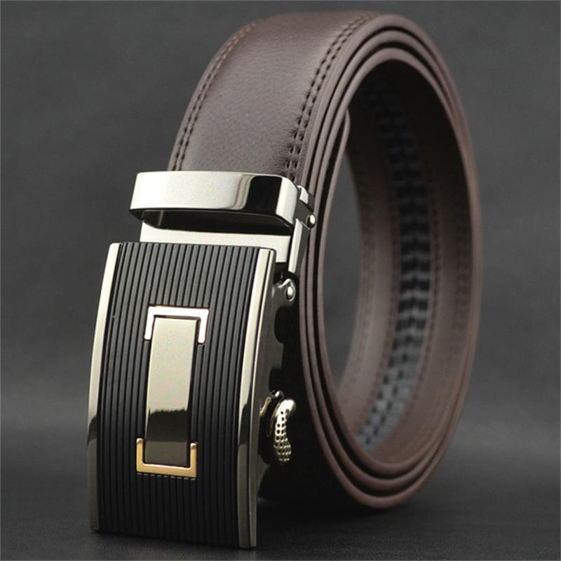 WOWTIGER Free Shipping Automatic Buckle Belts Luxury Automatically Cowhide Men Belt Brown Black Belts For Men
