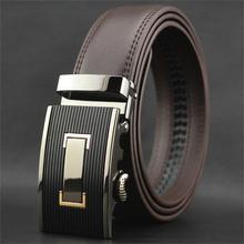 WOWTIGER Freies verschiffen Automatische schnalle gürtel Luxus automatisch rindsleder herren gürtel braun schwarz gürtel für männer