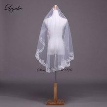 Liyuke New Lace EdgeVeils White Tulle One-Layer Elegant Short 1.3 M Beautiful Wedding Veils