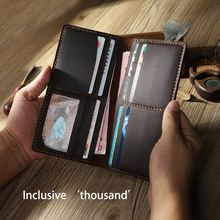 Original handmade wallet mens leather long retro personality crazy horse skin diy kit