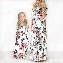 0ee2235e16 Długa sukienka 2019 matka córka sukienki ubrania lato kwiatowy Print długie  suknie Boho plaża sukienka w dużym rozmiarze tunika .