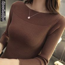 2020 Autumn And Winter new Korean women collar sweater all match long sleeved shirt slim  one neck female thread tight Pullover