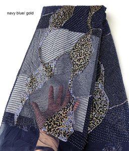 Image 1 - Impresionante encaje francés clásico hecho a mano, tela de tul de boda increíble con todas las cuentas de cristal pequeñas hechas a mano, lentejuelas dobles de 5 yardas