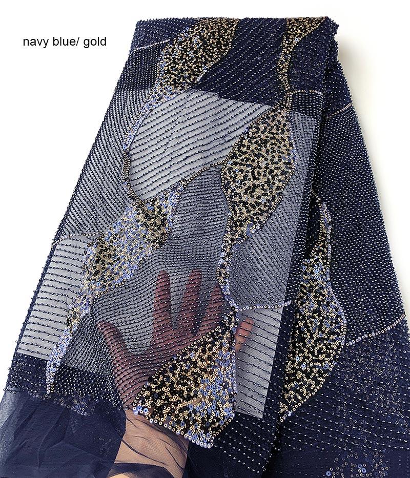Impresionante tejido de tul de boda con encaje francés clásico a mano con cuentas de cristal pequeñas hechas a mano con lentejuelas dobles de 5 yardas-in encaje from Hogar y Mascotas    1