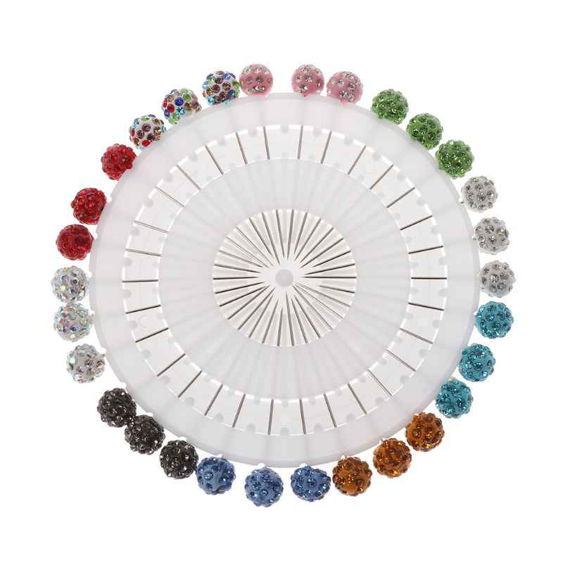 30Pcs Safety Pin Muslim Hijab Scarf Pin Rhinestone Ball Brooch Straight Head Pin