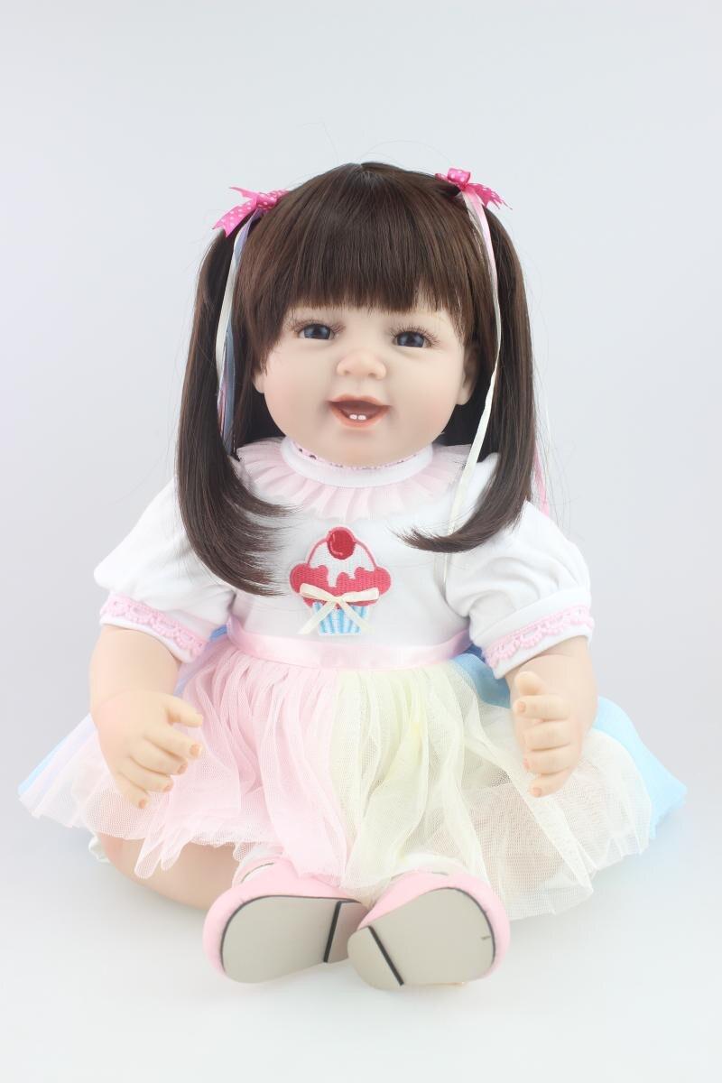 55 cm fait à la main Silicone Reborn fille bébé poupée simulation longhair bebe vivant élégant bambin bébés poupée bonecas brinquedos