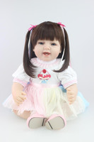 55cm handmade Silicone Reborn Girl Baby Doll simulation longhair bebe alive stylish toddler Babies Doll bonecas brinquedos