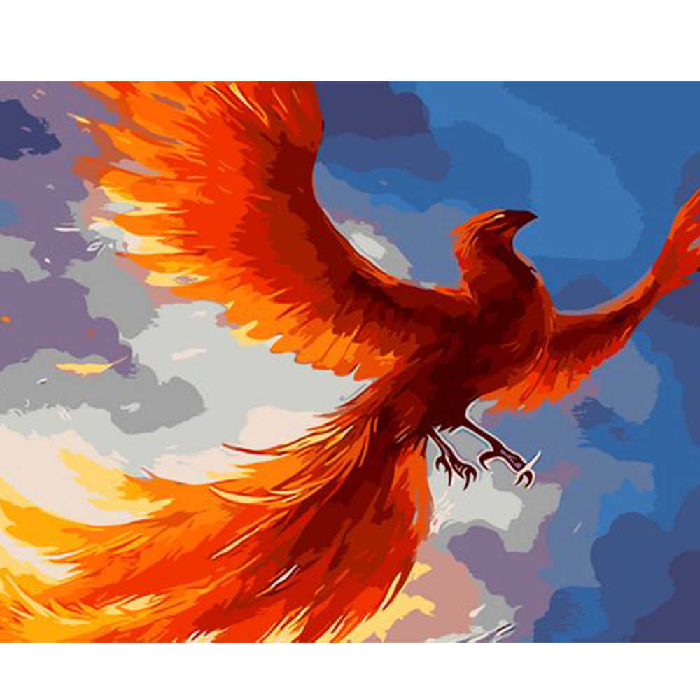 Abstract Bird Poster Gold Phoenix Diy Painting By Numbers Hand ...