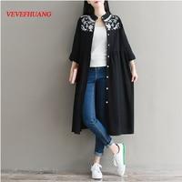Mori Girl Spring Autumn Women Black Vintage Dress Stand Collar Embroidery Cotton Linen Vestidos Full Sleeve Classical Dresses