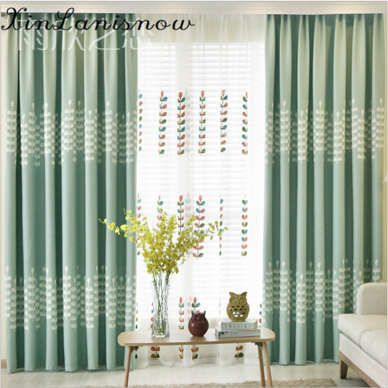 awesome light green living room curtains   The New Modern Light Green Embroidery Curtains for Living ...