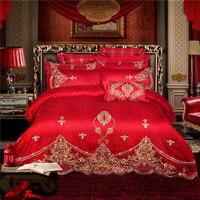 IvaRose Soft Satin silky Bedding Sets king size 9 pieces wedding Duvet Cover Set Embroidery Silk feeling Bedlinen Sheet