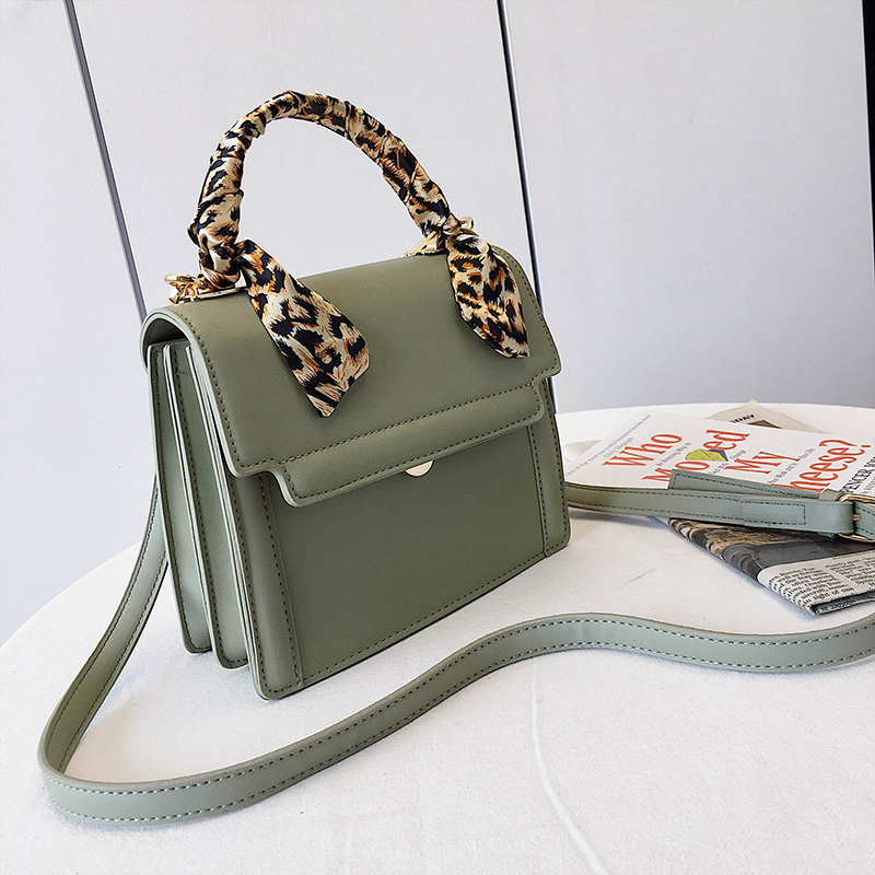 White Handbag Leather Bag For Women 39 s Handbags Crossbody Bags Small Messenger Hand Bag Ribbon Scarf Vintage Luxury Green Flap in Shoulder Bags from Luggage amp Bags
