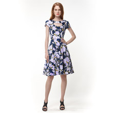 Ladies Summer Dress Vestido Casual Dresses Floral Print Robe Vintage 50s  Retro Short Sleeve Tunic Pinup Swing Hollow Out Clothes e14f19ad5fc2