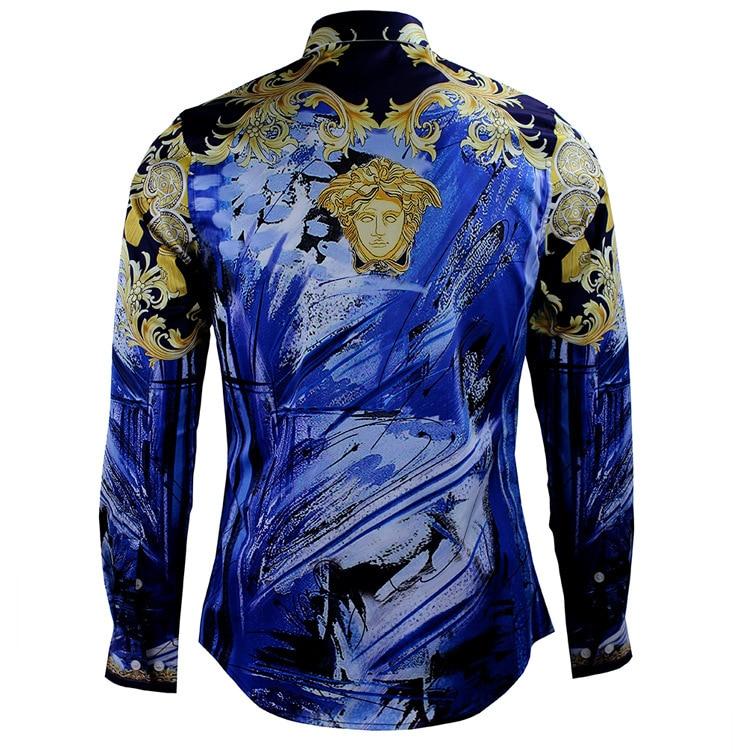 Luxury brand mens dress shirts 2018 fashion design printed for Mens printed long sleeve shirts