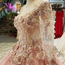 ثوب خلع الملابس AIJINGYU مقاس كبير من الملابس الفاخرة الأسعار الباكستانية أفضل فساتين الزفاف المغربية المتواضع مع الأكمام الدانتيل