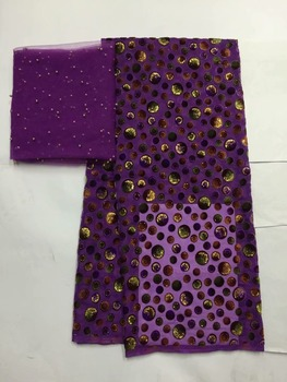 beautiful  good quality african silk velvet lace fabric comfortable burnt velvet with 2yards headtie for clothes   B8oc254