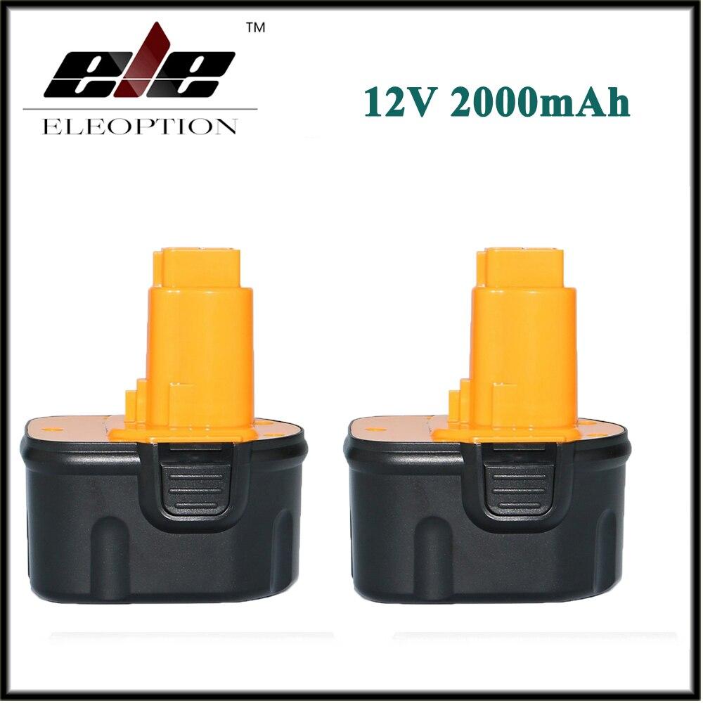 2x Eleoption 12V 2000mAh NI-CD Replacement Power Tool Battery for Dewalt DW9071 DW9074 DE9037 DW9072 DE9075 DW9071