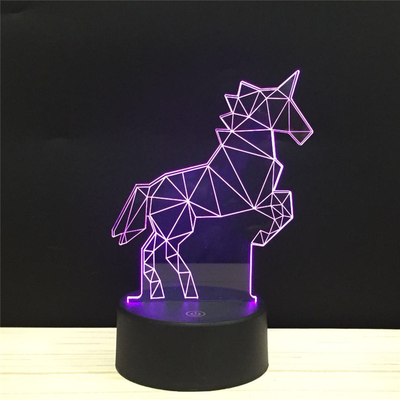 Unicorn Sky Horse LED 3D NightLight Acrylic Night Lamp Light Luminary With Touch And Remote Lamps Lights Pure Love Decoration