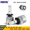 Partol H4 H7 H11 H1 9005 9006 9004 COB LED Headlight 72W 8000LM Car LED Headlights Bulb Head Lamp Fog Light 6500K Series F-S2