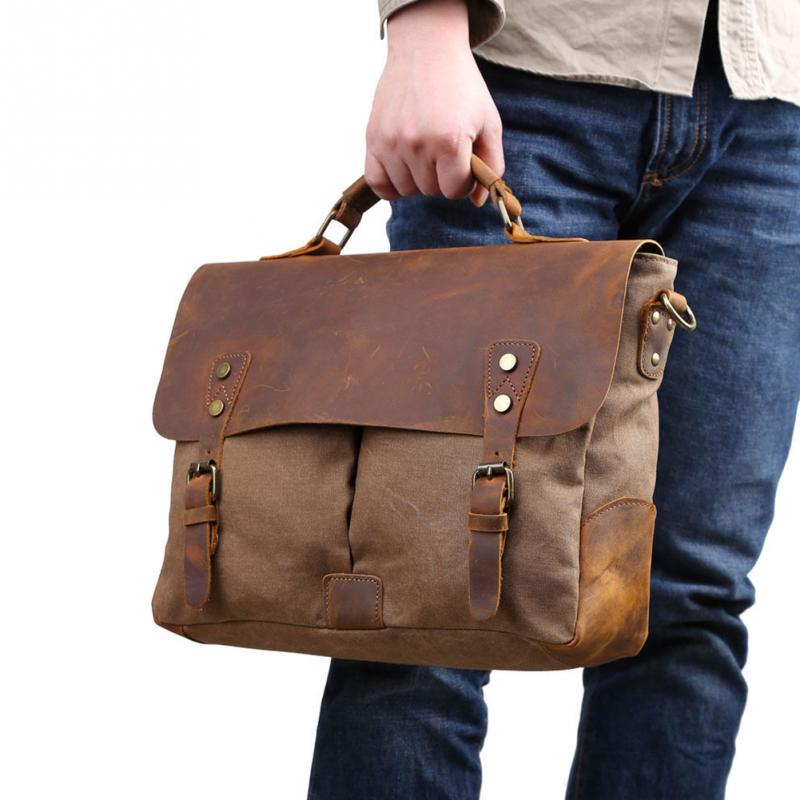 Men Retro Canvas Artificial Leather Shoulder Bag Luxury Designer Vintage Messenger Bag Briefcase Satchel Bag Laptop Handbags retro british school women messenger bag embossed hollow out shoulder briefcase department of forestry casual satchel