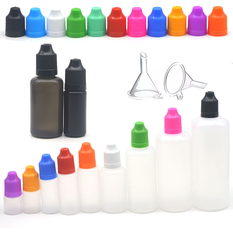 5pcs 3/5/10/15/20/30/50/60/100/120ml LDPE Plastic Empty Bottle Squeeze Juice Eye Liquid Dropper Bottles With Funnel