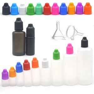 Image 1 - Bouteilles compte gouttes vide en plastique, 5 pièces, 3/5/10/15/20/30/50/60/100/120ml, bouteilles compte gouttes avec entonnoir