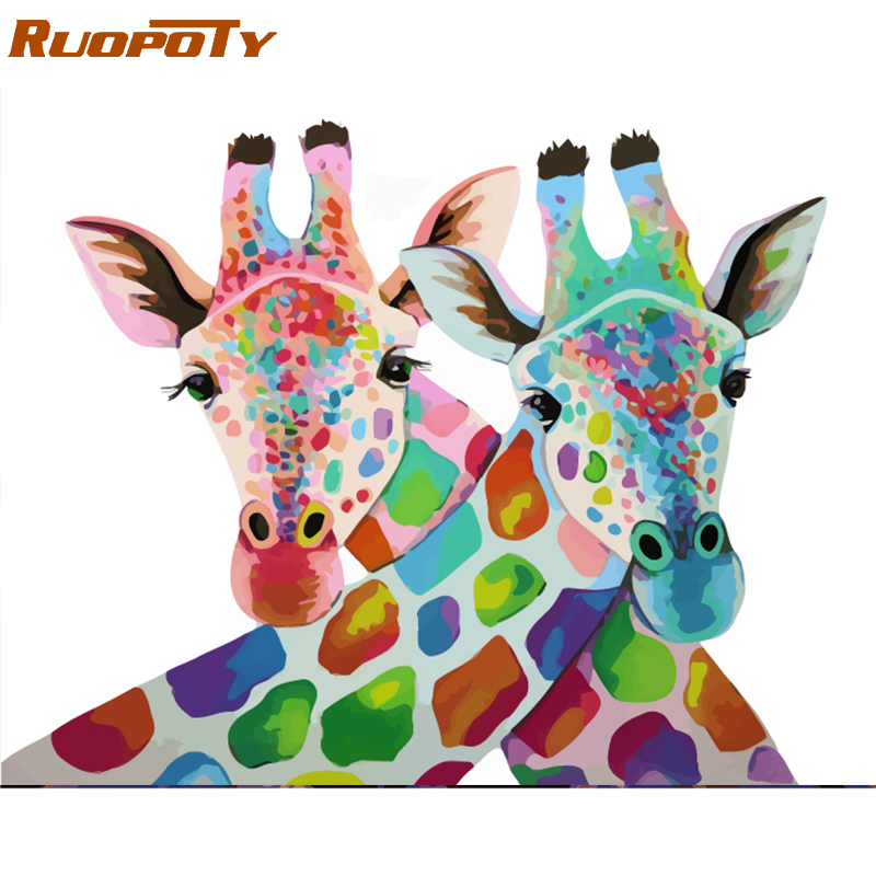 RUOPOTY Frame Giraffe Lovers DIY Painting By Numbers Kits Acrylic Paint On Canvas Modern Wall Art Picture For Home Decor 40x50cm
