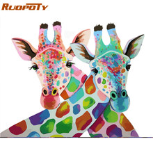 RUOPOTY Frame Giraffe Lovers DIY Painting By Numbers Kits Acrylic Paint On Canvas Modern Wall Art Picture For Home Decor 40x50cm(China)