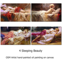 Dafen Skilled Artist Handmade High Quality Beauty Lady Lie on the Bed Pictures Sexy Art Oil Painting for Living Room Decoration