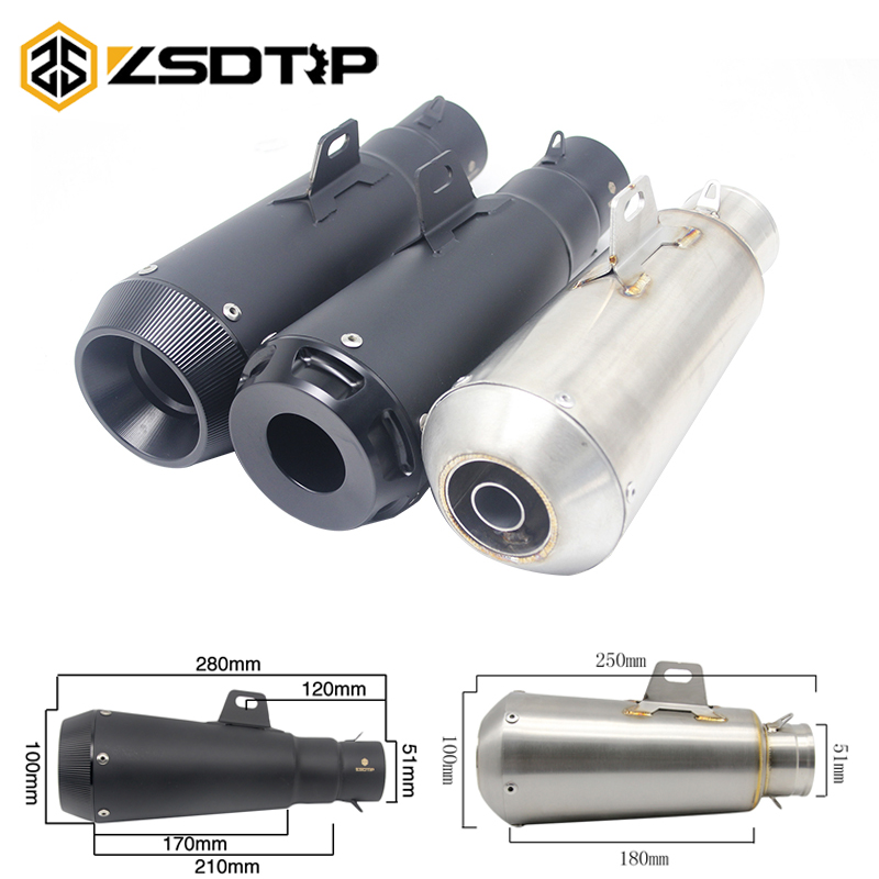 ZSDTRP Universal Motorcycle Stainless Steel Slip-On Exhaust Muffler Pipe Escape With DB Killer For Most Motorcycle With Sticker