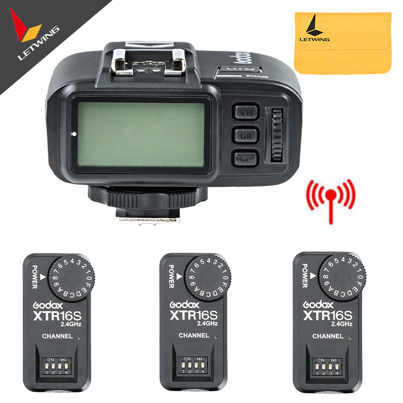 3x Godox XTR-16S Wireless 2.4G Power Control Flash Receivers + X1T-N TTL Wireless Transmitter For V850 V860C V860N Flash 2 receivers 60 buzzers wireless restaurant buzzer caller table call calling button waiter pager system