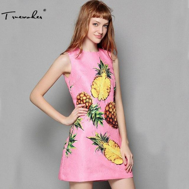 Truevoker Europe Summer Fashion Designer Dress Women s High Quality  Pineapple Fruit Printed Pink Embossed Tank Dress Plus Size ed22da9eab23