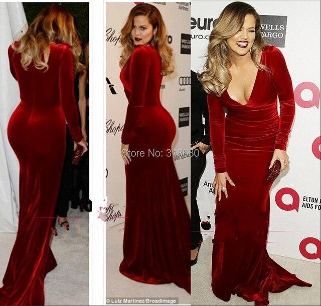 Red Carpet Khloe Kardashian Long Sleeves Wine Celebrity Dresses 2017 Velvet Evening Mermaid
