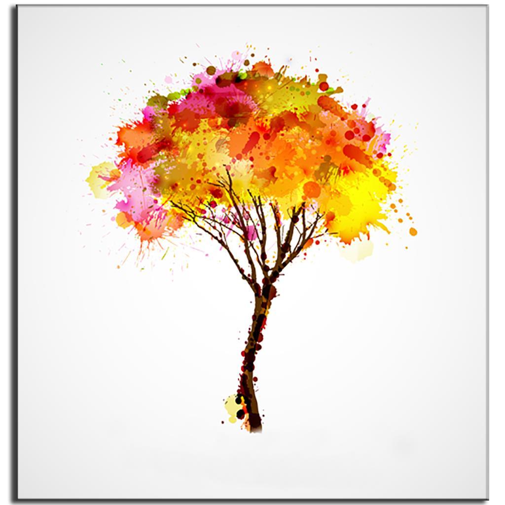 Lukisan Abstrak Warna Warni Pohon Apel