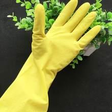 Кухонные Нескользящие водонепроницаемые бытовые перчатки с длинным рукавом, теплые перчатки для мытья посуды, перчатки из латекса для защи...