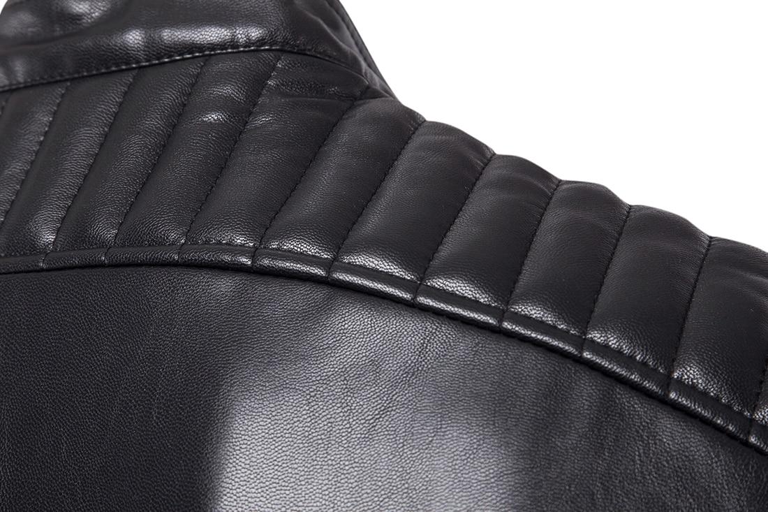 Cuoio degli uomini di modo giacca motore di moto leather jacket coat pieghe  maniche disegno della spalla obliqua tasca con cerniera più il formato 5XL  in ... dbb9339e399