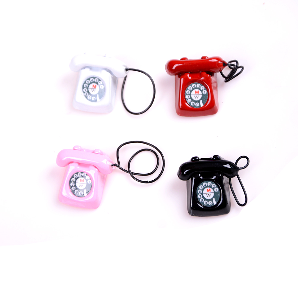 1:12 Dollhouse Miniature Old Fashioned Vintage Phone Telephone Black White Pink Red