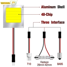 Xukey C5W W5W Festoon BA9S Car COB LED Panel Light 48-Chips Auto Interior Dome Trunk Map Bulbs 6000K HID Super White 2W Al Shell