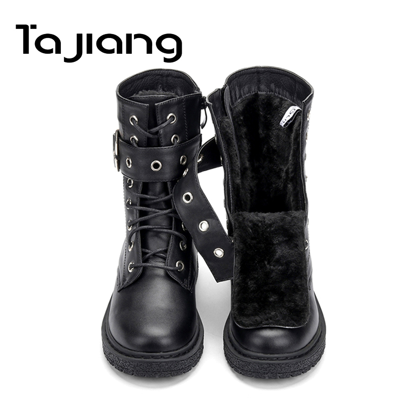 Ta Jiang New Fashion Warm Plush Winter Women Ankle Boots For Women Shoes Leather Lace-Up Autumn Motorcycle Boots Shoes Woman