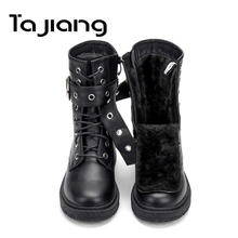 Ta Jiang New Fashion Warm Plush Winter Women Ankle Boots For Shoes Leather Lace-Up Autumn Motorcycle Woman