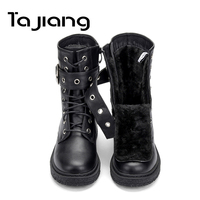 Ta Jiang New Fashion Warm Plush Winter Women Ankle Boots For Women Shoes Leather Lace Up Autumn Motorcycle Boots Shoes Woman