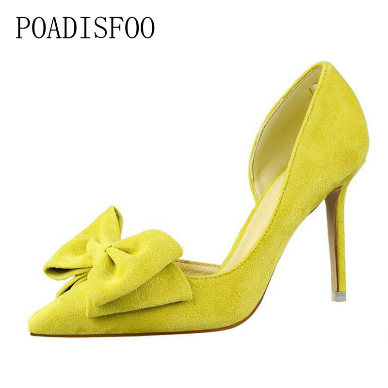 POADISFOO Spring Sweet high heel shoes women fine shallowly pointed toe suede hollow butterfly knot women shoes .DS-519-1 недорго, оригинальная цена