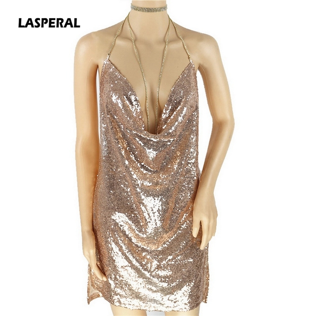 LASPERAL Deep V Neck Autumn Silver Sequined Backless Sexy Dress Women Off Shoulder Mini Dress Christmas Party Club Strap Dresses