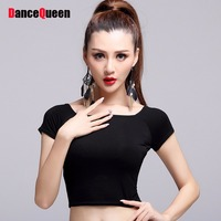 e87d64edc4 2017 Hot Lady Latin Dance Tops No Include Skirts Black Color Short Sleeve  Crop Top Roupa