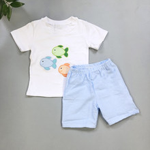 1d922cbcc baby boy clothes Set CONICE NINI New Design Fish Embroidery Plaid shorts t- shirt top baby summer clothes Boutique Outfits