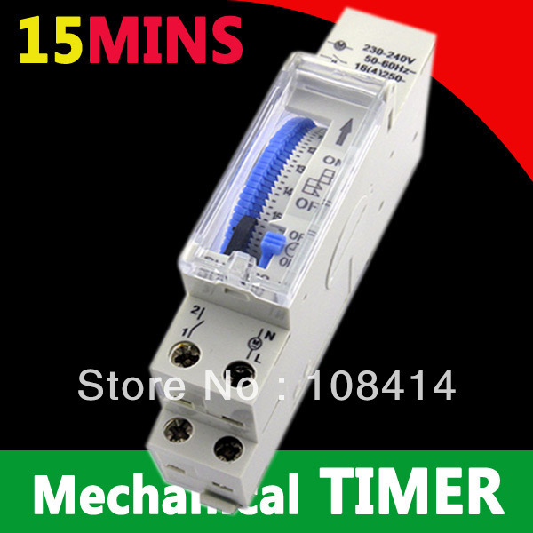 15 minutes analogue staircase time switches 220vac din rail mounted