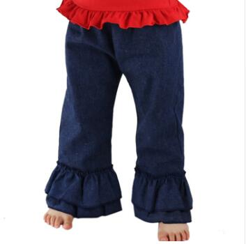 Free Shipping Children Denim Cute Girl Denim Double Ruffles Pants Kids Pants Spring Autumn Baby Kids