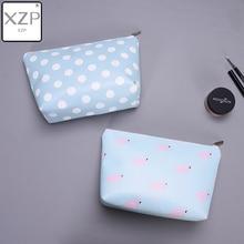 XZP Animal Flamingo Cosmetic Cases Bag Zipper Women Blue Dot Make Up Bag Travel Waterproof Portable Makeup Bag Toiletry Kits недорого